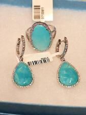 LIQUIDATION!!$10200 RARE 18KT SLEEPING BEAUTY TURQUOISE DIAMOND EARRING RING SET