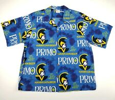 VINTAGE Primo Hawaiian Beer Medium/Large Go Barefoot Aloha Shirt Made in Hawaii