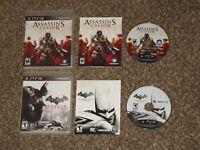 Batman Arkham City + Assassin's Creed II 2 Playstation 3 PS3 Game Bundle Lot