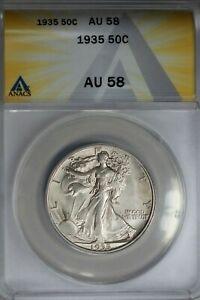 1935  .50   ANACS  AU 58  Walking Liberty, Half Dollar, Lady Liberty Half, 0.50