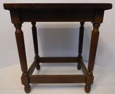"VINTAGE WOOD VANITY BENCH STOOL WITH FABRIC COVERED SEAT 18.5"" TALL"