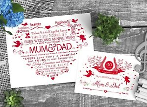 Personalised 40th RUBY Wedding Anniversary for Mum and Dad For Parents with Card