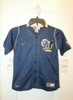 NIKE Milwaukee Brewers MLB Baseball Youth Boys Button Up Jersey Size 6 Vintage