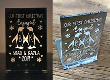 Personalised 1st First Christmas Engaged Engagement Penguin Candle Holder Gifts