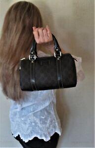 $1450. genuine GUCCI Italy PURSE Black & Brown GG Monogram Boston Mini Dr. Bag