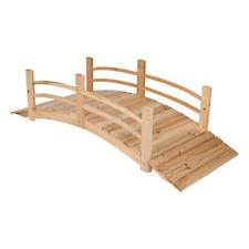 6 ft. Natural Cedar Wood Garden Corner Bridge Brown Handcrafted Outdoor Decor