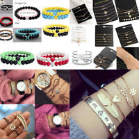 New Fashion Women Jewelry Set Rhinestone Beaded Chain Alloy Bracelets Jewelry