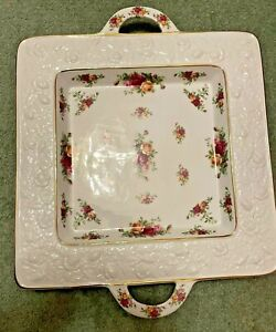 Royal Albert Old Country Roses VERY RARE Square Sculpted Platter with handles