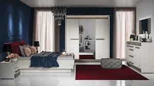 Bedroom Complete Set Royal Bed Wardrobe Night Table 5 Pieces