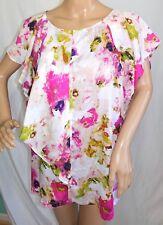 2d1255549e5 Liz Claiborne Women Plus Size 2X Purple Green Chiffon Floral Blouse Top  Shirt