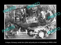 OLD POSTCARD SIZE MILITARY PHOTO COLOGNE GERMANY AERIAL VIEW BOMBING c1940