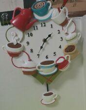 Coffee Time Resin Pendulum Battery Operated Wall Clock Kitchen Decor Unused