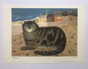 "MARY FEDDEN RA 1915-2012 Limited Edition Print ""Cat on a Cornish beach"" ed 500"