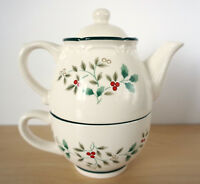 New PFALTZGRAFF Winterberry Tea for One Tea Pot w/ Tea Cup Mug Ceramic