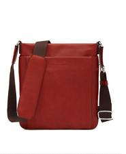 Swiss Luxury Brand BALLY Pebbled Leather Messenger Bag MSRP $725 in Pumpkin Red