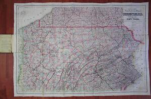 RARE - Colton Pocket Map PA Township Pennsylvania & Southern Counties NY 1876