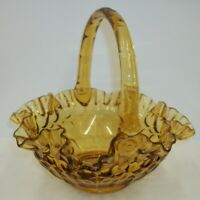 Vintage Fenton Crimped Thumbprint Colonial Amber Glass Basket