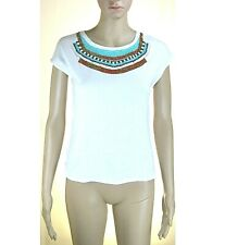 T-Shirt Donna Top VIOLET ATOS LOMBARDINI Made in Italy LU454 Bianco Tg 40