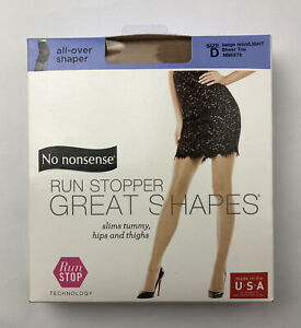 No nonsense Pantyhose NN6878 All-Over Shaper Sheer Toe Size D Beige