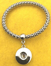Silver Beaded Stretch With Dangle Snap Charm  Bracelet Fits Snap Button Charms
