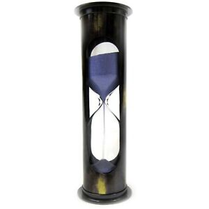 """Antique Brass """"MARY ROSE"""" 5-min Sand Timer. Hourglass with Purple Sand"""