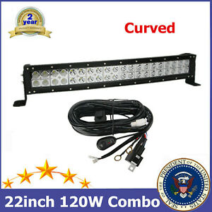 Curved 120W 22'' LED Work Light Bar Flood Spot With Wiring Harness Ford Chevy TP