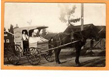 Real Photo Postcard RPPC - Milkman and Horsedrawn Belvedere Dairy Wagon