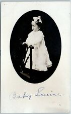 "Vintage RPPC Photo Postcard Girl in White Dress Standing on Chair ""Baby Louise"""
