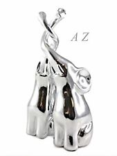 Silver Art 2 Elephants Animals Figures Ornaments Home Decor Gifts New - LP25135