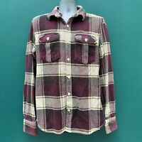 Superdry Men's Burgundy Red Check Heavy Thick Flannel Shirt Lumberjack Size L