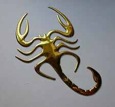 Adhesive GOLD Chrome Effect Scorpion Badge Decal for Car Vans Bike Scooter Quads