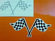 CHEQUERED Flag Motorcycle Helmet Van Car Bumper Stickers Decals 2 off 100mm