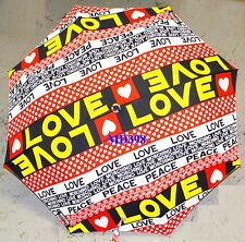 Moschino Cheap & Chic ORANGER LOVE PEACE AUTO Umbrella Rain Sun Women Cute Gift