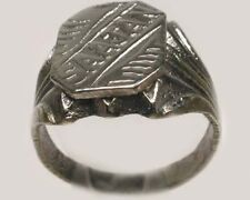"Antique 19thC East Asian North Punjab India Hindu Silver Ring ""Saajan"" Size 10"