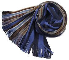 Klassischer Strickschal aus 100% Merinowolle mit Fransen -- blau/bunt gestreift