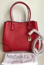 NWT!!Michael Kors Mercer Gallery Medium Leather Satchel Bright Red $298(sale)