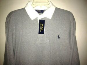 POLO RALPH LAUREN Men's NWT Lg GRAY HEATHER/WHITE Rugby L/S Polo Shirt $98.50