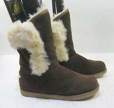 new brownWinter comfortable flat ankle boot fur inside    size   9