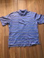 Ralph Lauren Mens Golf Short Sleeve Polo Shirt Blue White Stripes Size Large