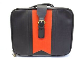 Vintage Used Black Red Leather Unisex W CC Zipper Briefcase Case Small Suitcase