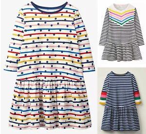 Girls MINI BODEN Dress Long Sleeved Cotton Jersey Fun Spotty Striped Rainbow NEW