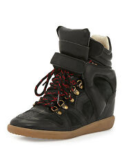 NIB $850+ Isabel Marant Etoile BLACK Buck Leather Wedge Sneakers Shoe Sz 37 - 7