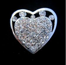 "1.3"" SMALL  SILVER TONE HEART DIAMANTE RHINESTONE CRYSTAL WEDDING/PARTY BROOCH"