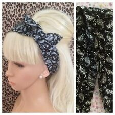BLACK WHITE PAISLEY COTTON BENDY WIRE HAIR WIRED HEAD BAND ROCKABILLY 50s 60s