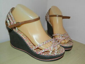 Rocket Dog floral brown textile wedge buckle sandals uk 6 eur 39 * VGC