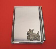 Scottish Terrier Motif on Chrome Notebook / Card Holder & Pen Christmas Gift