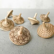Beech Wood Engraving Spinning Top  1 pcs New