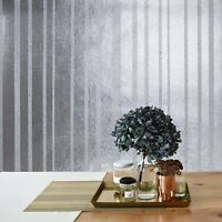 Modern striped Glassbeads lines striped textured silver Foil Metallic Wallpaper