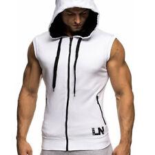 Mens Sleeveless Hoodie Sport Sweatshirt Hooded Top Casual Muscle Gym Vest Gilet