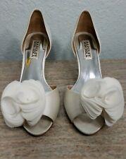 Badgley Mischka Blossom Ivory Satin High Heel Pumps Womans US 6 M